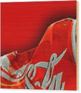 Coca-cola Can Crush Red Wood Print