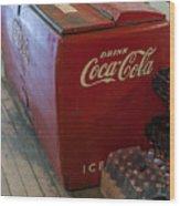 Coca-cola Chest Cooler General Store Wood Print