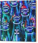 Coca-cola Coke Bottles - Return For Refund - Painterly - Blue Wood Print