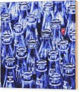 Coca-cola Coke Bottles - Return For Refund - Square - Painterly - Blue Wood Print