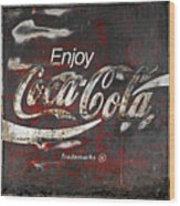 Coca Cola Grunge Sign Wood Print