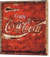 Coca Cola Square Soft Grunge Wood Print
