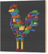 Cock Block Farm Rooster Wood Print