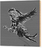 Cock Bw II Transparant Wood Print