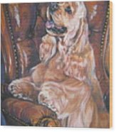 Cocker Spaniel On Chair Wood Print
