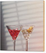 Cocktails With Strainer Wood Print