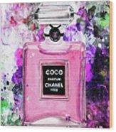 Coco Chanel Parfume Pink Wood Print