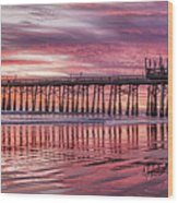Cocoa Pier Sunrise Wood Print