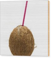 Coconut With A Straw Wood Print