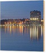 Coeur D Alene Night Skyline Wood Print