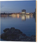 Coeur D Alene Skyline Night Wood Print