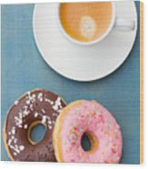 Coffee And Baked Donuts Wood Print