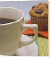 Coffee And Chocolate Muffin Wood Print