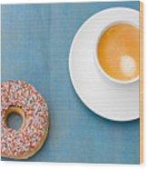 Coffee And Donut Wood Print