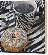 Coffee And Donut On Striped Plate Wood Print