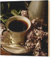 Coffee And Lilacs In The Morning Wood Print
