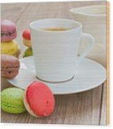 Coffee  And Macaroons Wood Print