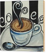 Coffee At The Cafe Wood Print