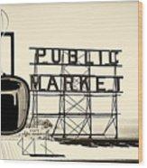 Coffee At The Market II Wood Print