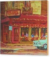 Coffee Bar On The Corner Wood Print