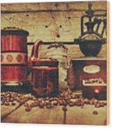 Coffee Bean Grinder Beside Old Pot Wood Print