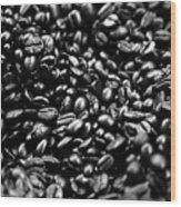 Coffee Beans Bw Wood Print