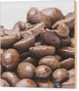 Coffee Beans Closeup Wood Print