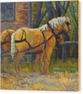 Coffee Break - Draft Horse Team Wood Print