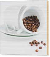 Coffee Cups And Coffee Beans  Wood Print
