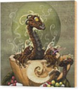 Coffee Dragon Wood Print