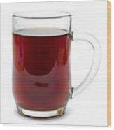 Coffee In Glass Mug Isolated On White Wood Print