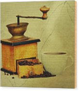 Coffee Mill And Cup Of Hot Black Coffee Wood Print