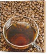 Coffee On Roasted Beans Wood Print