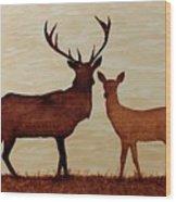 Coffee Painting Deer Love Wood Print