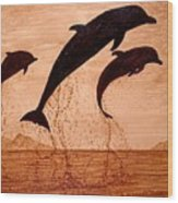 Coffee Painting Dolphins Playing Wood Print