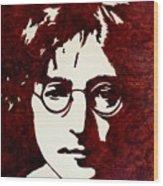 Coffee Painting John Lennon Wood Print