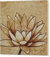 Coffee Painting Water Lilly Blooming Wood Print