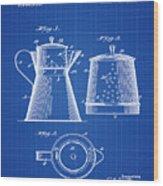Coffee Pot Patent 1916 Blue Print Wood Print