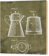 Coffee Pot Patent 1916 Grunge Wood Print