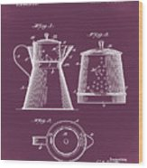 Coffee Pot Patent 1916 Red Wood Print