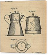 Coffee Pot Patent 1916 Sepia Wood Print