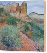 Coffee Pot Rock Sedona Arizona Usa 2001   Wood Print