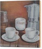 Coffee Set Wood Print
