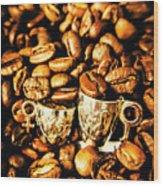Coffee Shop Companions  Wood Print