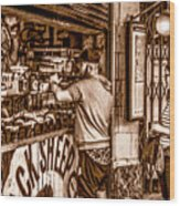 Coffee Time At The Station. Wood Print