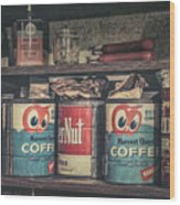 Coffee Tins All In A Row Wood Print