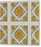 Coffered Ceiling Detail At Getty Villa Wood Print by Teresa Mucha