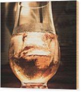 Cognac Glass On Bar Counter Wood Print