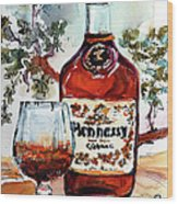 Cognac Hennessy Bottle And Glass Still Life Wood Print