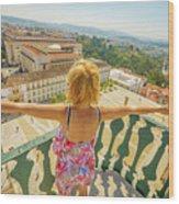 Coimbra Aerial Woman Wood Print